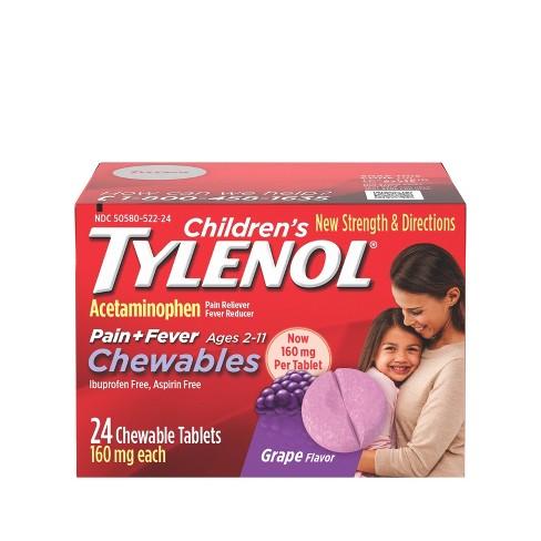 Children's Tylenol Pain + Fever Relief Chewables - Acetaminophen - Grape - 24ct - image 1 of 4