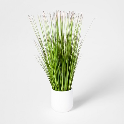 "20"" x 7"" Artificial Grass Arrangement In Pot White - Threshold™"