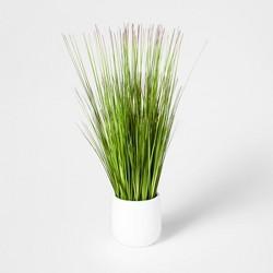 "20"" x 7"" Artificial Grass Arrangement In Pot Green/White - Threshold™"
