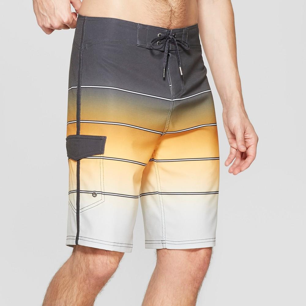Men's 10 Striped Broken Fade Board Shorts - Goodfellow & Co Yellow 28