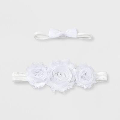 Baby Girls' 2pk Bow Headband Set - Cloud Island™ White