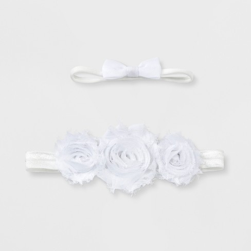 Baby Girls  2pk Bow Headband Set - Cloud Island™ White   Target f0176999735