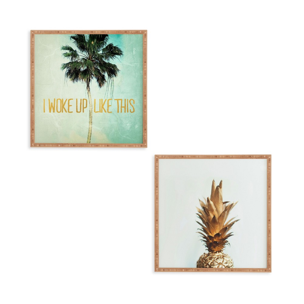 """Image of """"12""""""""x12"""""""" 2pc The Gold Pineapple Framed Decorative Wall Art Set Blue - Deny Designs"""""""