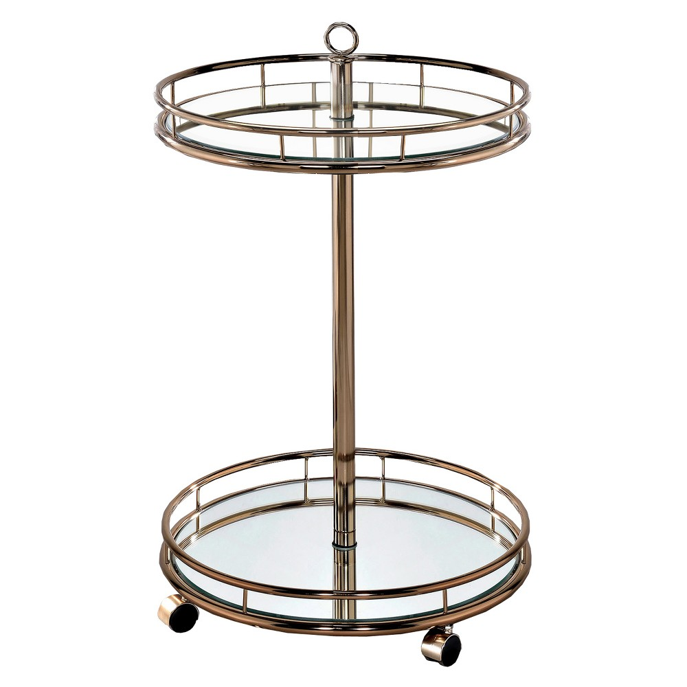 ioHomes Opalle Round Mirrored Serving Cart Metal/Champagne, Bronzed Yellow