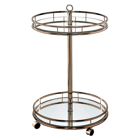 ioHomes Opalle Round Mirrored Serving Cart Metal/Champagne - image 1 of 3