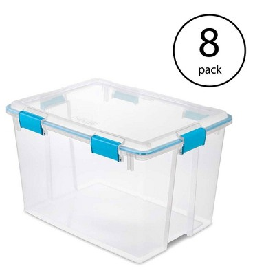 Sterilite 80 Quart Plastic Home Storage Gasket Box Container, Clear (8 Pack)