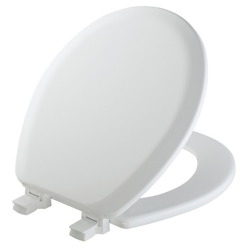 Mayfair Round Molded Wood Toilet Seat In White With Easy Clean Change Hinge