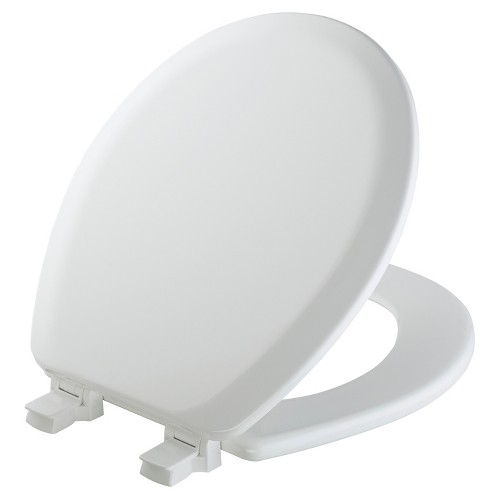 Mayfair Round Molded Wood Toilet Seat in White with Easy Clean & Change Hinge