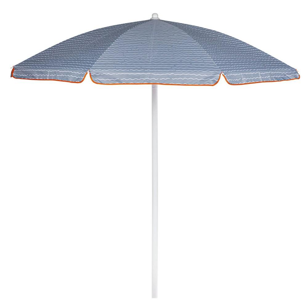 Picnic Time 5 5 39 Wave Break Beach Umbrella Gray