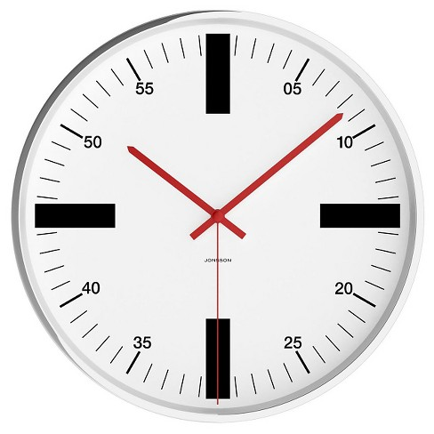 "Chrome 12"" Round Wall Clock White - JONSSON Timeware® - image 1 of 3"