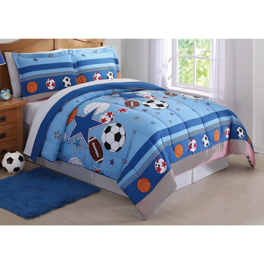 Full/Queen Sports And Stars Comforter Set - My World, Multicolored