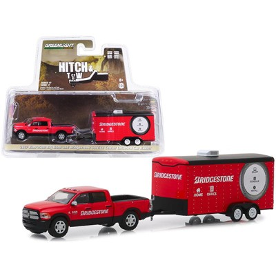 "2017 RAM 2500 Big Horn Pickup Truck and Enclosed Car Hauler ""Bridgestone"" Red 1/64 Diecast Model Car by Greenlight"
