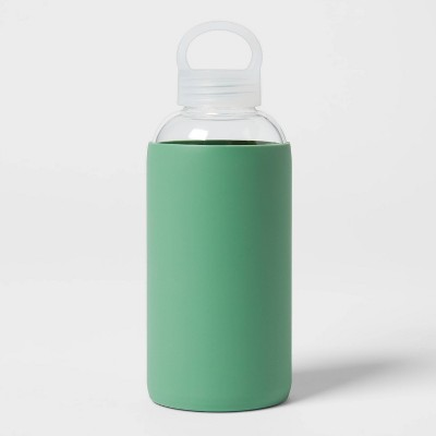 18oz Borosilicate Glass Water Bottle with PP Lid and Silicone Sleeve Crisp Green - Room Essentials™