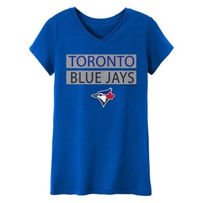 MLB Toronto Blue Jays Girls' V-Neck Core T-Shirt