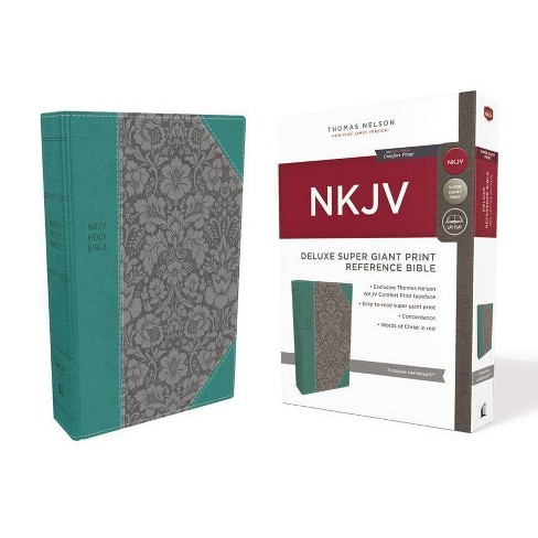 NKJV, Deluxe Reference Bible, Super Giant Print, Imitation Leather, Blue, Red Letter Edition, Comfort - image 1 of 1