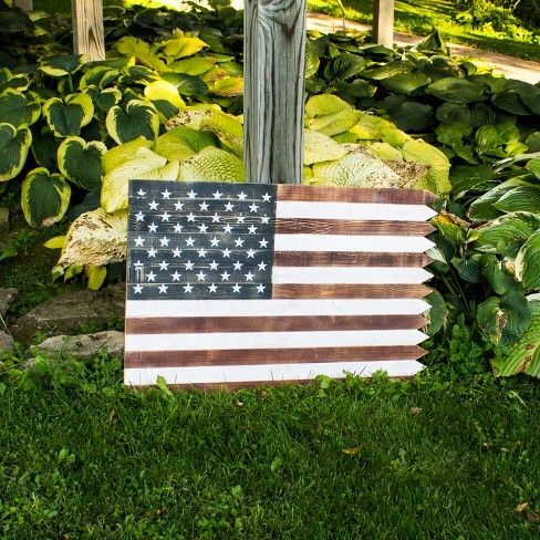 "36"" Wood Indoor/Outdoor Flag Wall Art Decor - Backyard Expressions® - image 1 of 1"