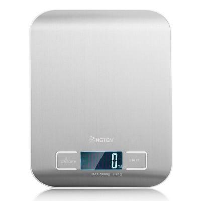 Insten Digital Food Kitchen Scale in Grams & Ounces - 1g/0.1oz Precise Upto 11lb (5000g) Capacity, Silver