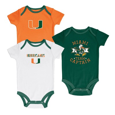 Miami Hurricanes Newest Fan 3pk Bodysuit Set 3-6 M