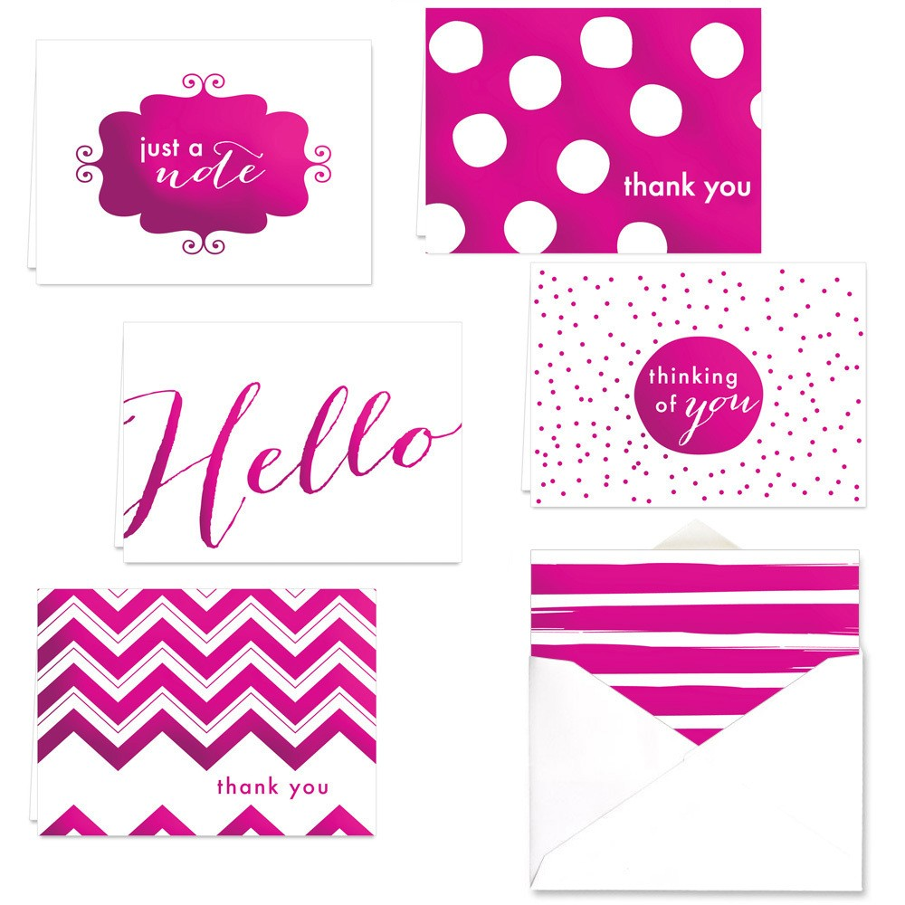 Image of 24ct Fuchsia Theme Thank You Note Card Set, Pink