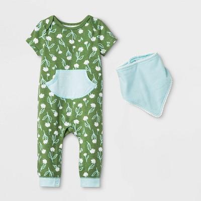 Baby Boys' Short Sleeve Floral Kanga Pocket Bib Romper - Cat & Jack™ Olive Green 0-3M