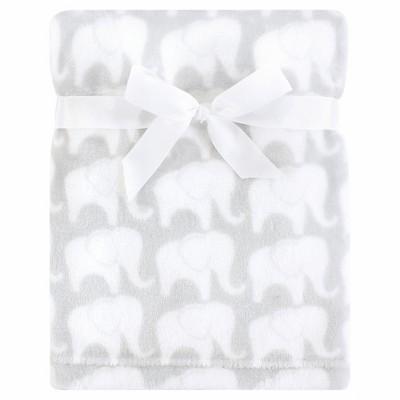 Hudson Baby Infant Silky Plush Blanket, Gray Elephant, 30x40 inches