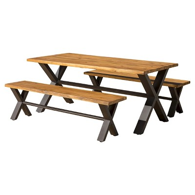 Sanibel 3pc Acacia Wood Dining Set - Teak Finish with Rustic Metal - Christopher Knight Home