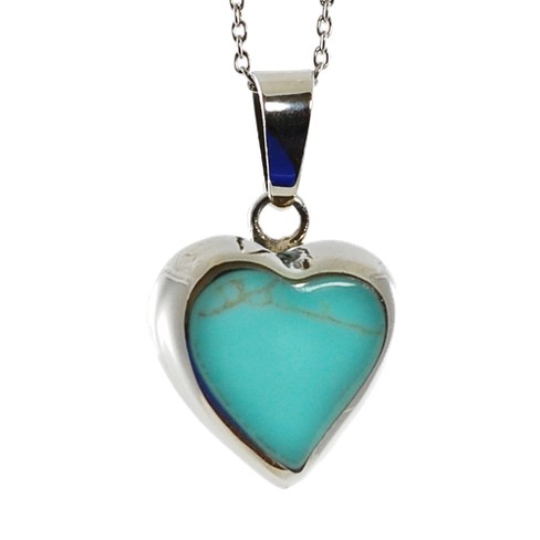 Sterling Silver Pendant with Inlay Heart - Turquoise - image 1 of 1