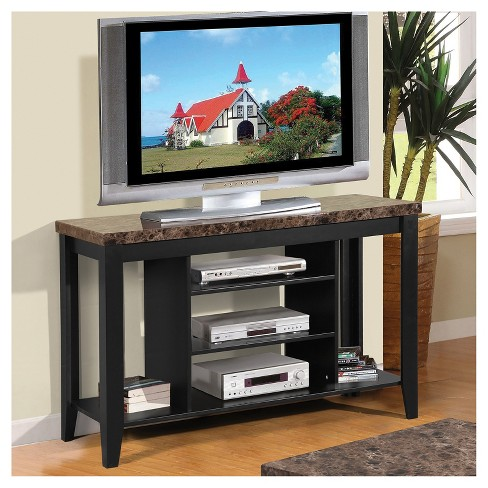 Wood 55 Tv Stand With Faux Marble Top Black Home Source
