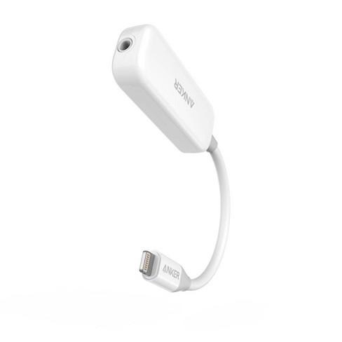 "Anker 2"" Lightning to 3.5mm Audio & Lightning Charging Adapter - White - image 1 of 4"