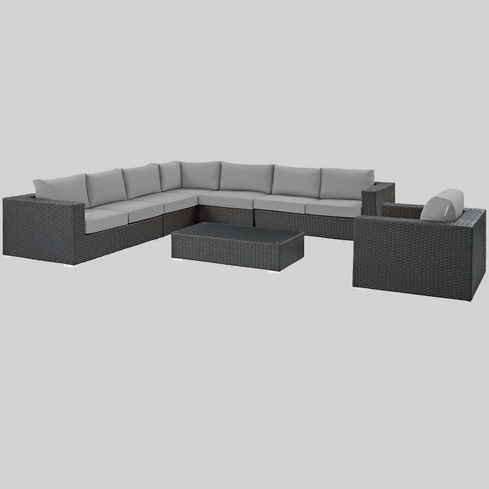 Sojourn 7pc Outdoor Patio Sunbrella Sectional Set - Gray - Modway