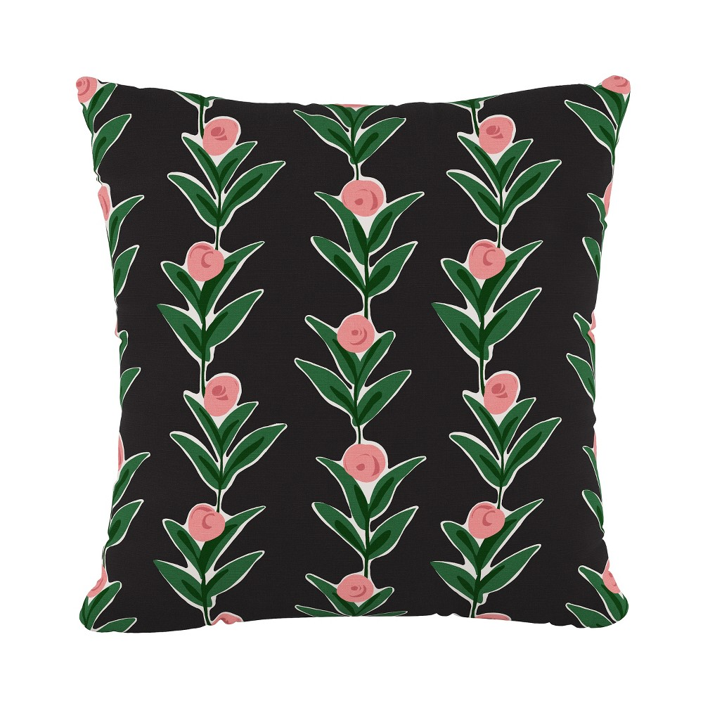 Image of Black Floral Throw Pillow - Cloth & Co.