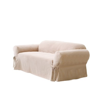 Soft Suede Sofa Slipcover Taupe - Sure Fit