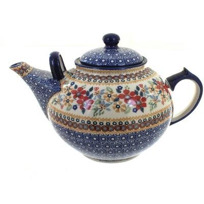 Blue Rose Polish Pottery Red Daisy Large Teapot