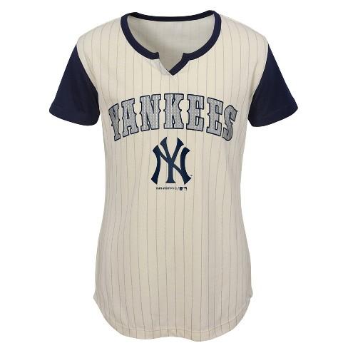 MLB New York Yankees Girls  In The Game Cream Pinstripe T-Shirt   Target fe58b93b0c1