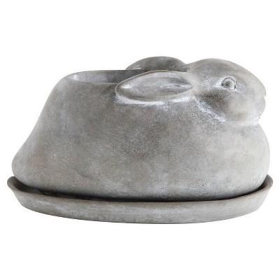 Cement Rabbit Planter & Saucer - Set of 2 - 3R Studios