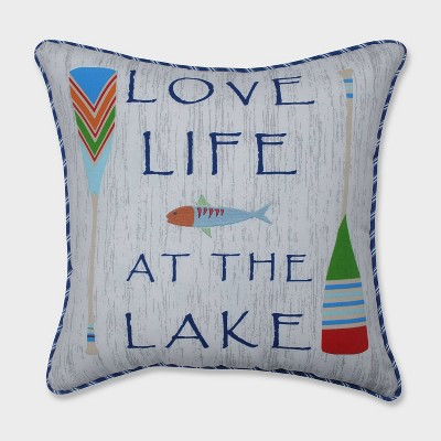 Love Life at the Lake Throw Pillow - Blue
