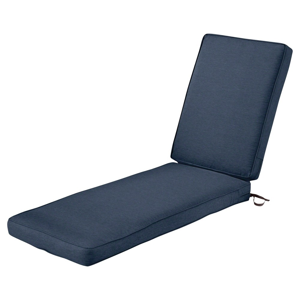 Image of Montlake Fadesafe Patio Chaise Lounge Cushion Set - Heather Indigo Blue - Classic Accessories