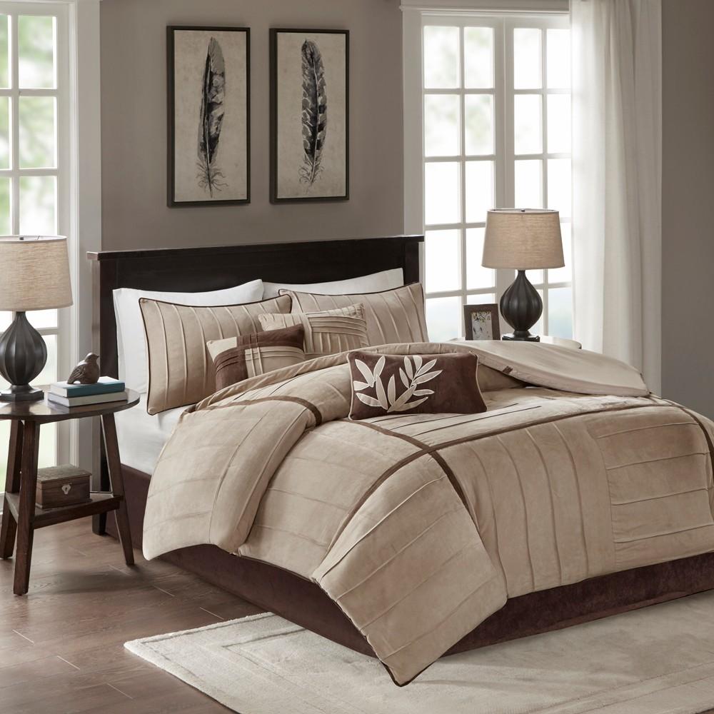 Image of Beige Landcaster Microsuede Pleated Comforter Set King 7pc