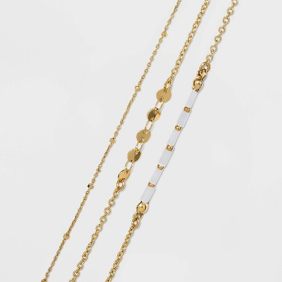 Natural Beads and Discs Anklet Set 3pc - A New Day™ Gold