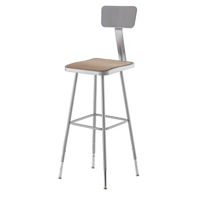 2pk Adjustable Heavy Duty Square Steel Stool With Backrest Gray - Hampton Collection : Target
