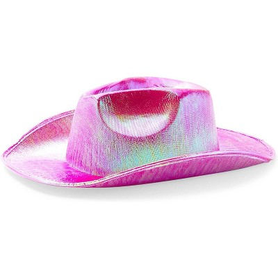 Zodaca Hot Pink Holographic Metallic Space Cowboy Hat Party Favors Halloween Costume
