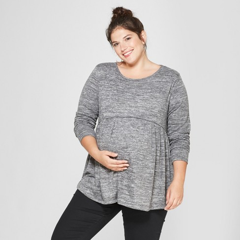 00a29654886e Maternity Long Sleeve Plus Size Relaxed Babydoll T-Shirt - Isabel ...