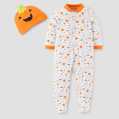 Baby Pumpkin Ghost Print Sleep N' Play - Just One You™ Made by Carter's® White NB