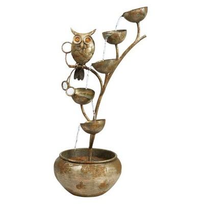 Whooo's Watching Owl Cascading Metal Sculptural Fountain - Acorn Hollow