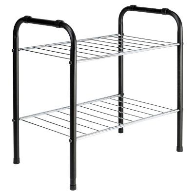 2-Tier Shoe Rack - Black/Silver - Room Essentials™