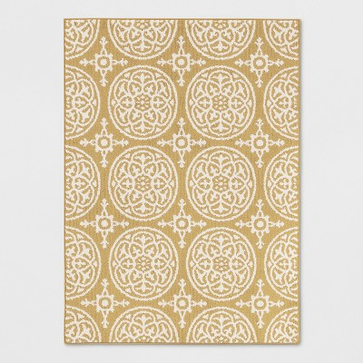 """4'X5'6"""" Medallion Washable Tufted And Hooked Rug Yellow - Threshold™"""