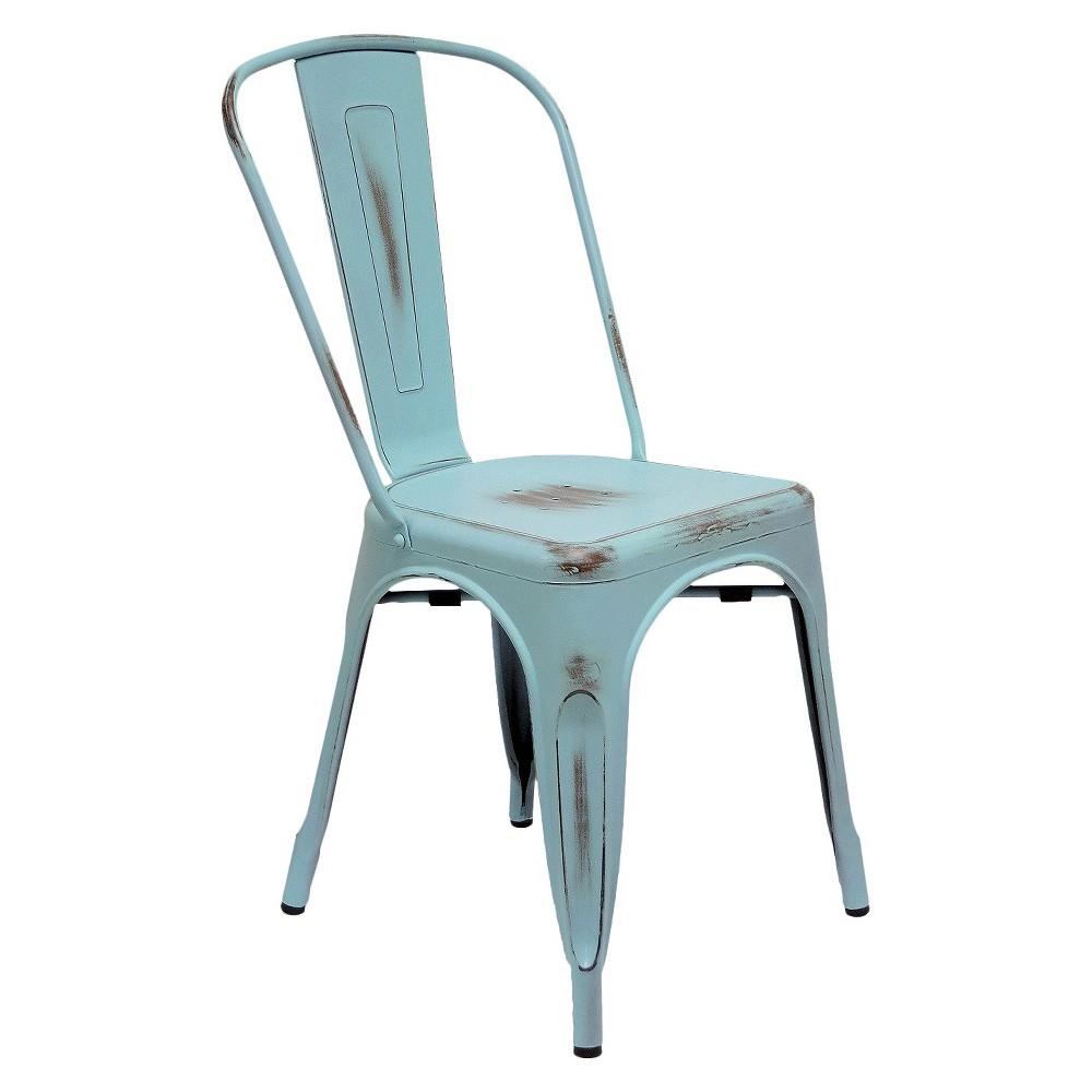 Aeon Garvin Galvanized Steel Chair - Antique Blue (Set of 2)
