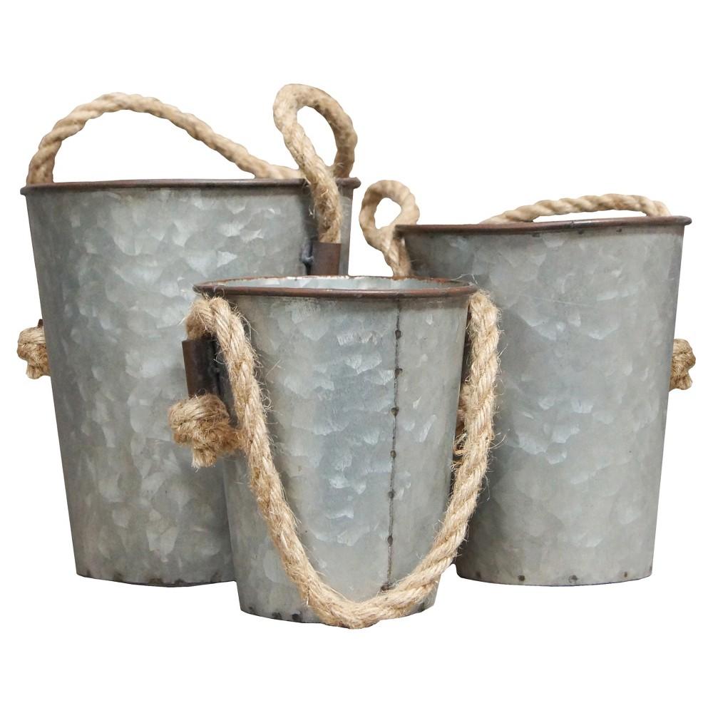 Metal Decorative Bucket Set Gray 3pk - Vip Home & Garden