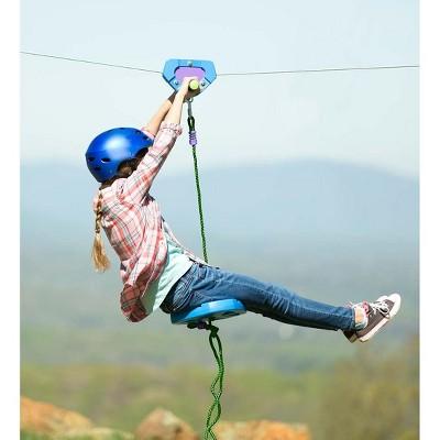 HearthSong - Backyard Zipline Kit for Kids Outdoor Play, 150' L, Blue