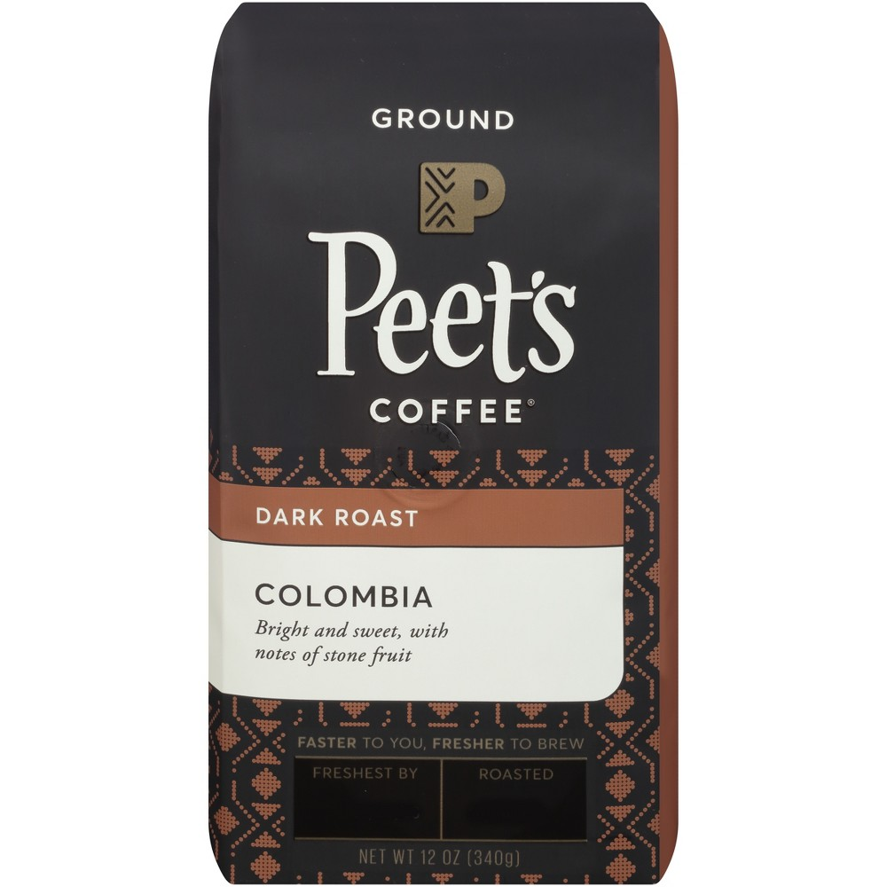 Peet's Colombia Dark Roast Ground Coffee - 12oz Start your day off right with a cup of Peet's Colombia Deep Roast Ground Coffee. Pre-ground coffee boasts an added convenience that whole bean coffee doesn't — it comes ready to brew, no grinding required. Simply toss the grounds in your drip coffee maker, espresso machine or whatever your preferred brewing method is, and enjoy the rich, full-bodied, slightly sweet taste of this coffee.